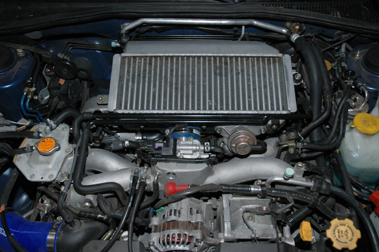 This is the stock WRX engine with the stock intercooler on top.